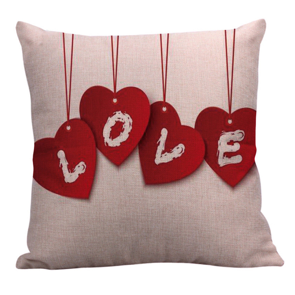 Decorative Valentine Pillows : Happy Valentine Linen Sofa Cushion ? When You Touch a Cat with your Spirit,in return they touch ...